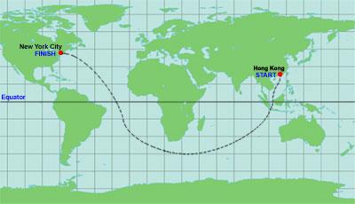 China trade route – hong kongto new york